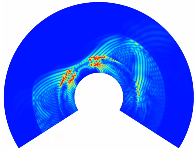 Acoustic velocity from a borehole imaging array simulated with OnScale
