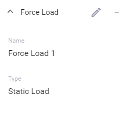 Properties of a force load (not in edit mode)