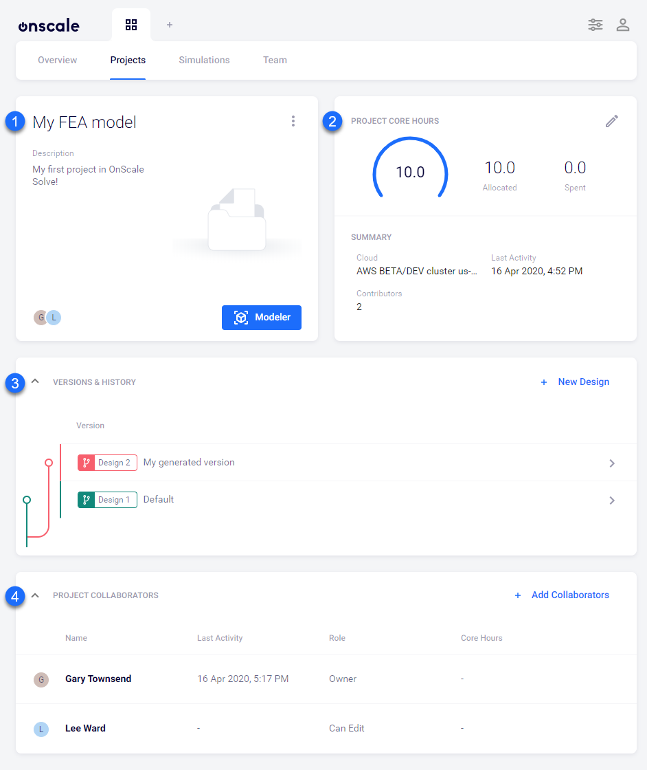 The project details page