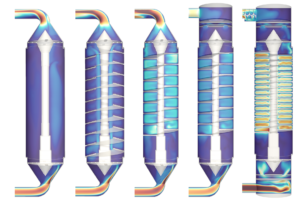 Left to right: Simulation iterations from a suboptimal design to an optimized configuration of the iPAP UV sterilizer chamber.