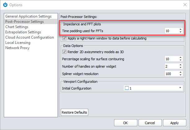 OnScale Solve Post-Processor Settings